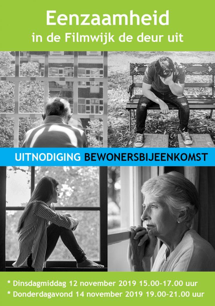 flyer Eenzaamheid in de FIlmwijk de deur uit